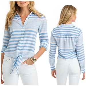 NWT VINEYARD VINES Stripe Tie Front Shirt Linen